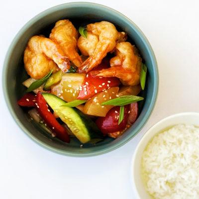 Овочі в кисло-солодкому соусі з креветками/ Пад Прі Ван